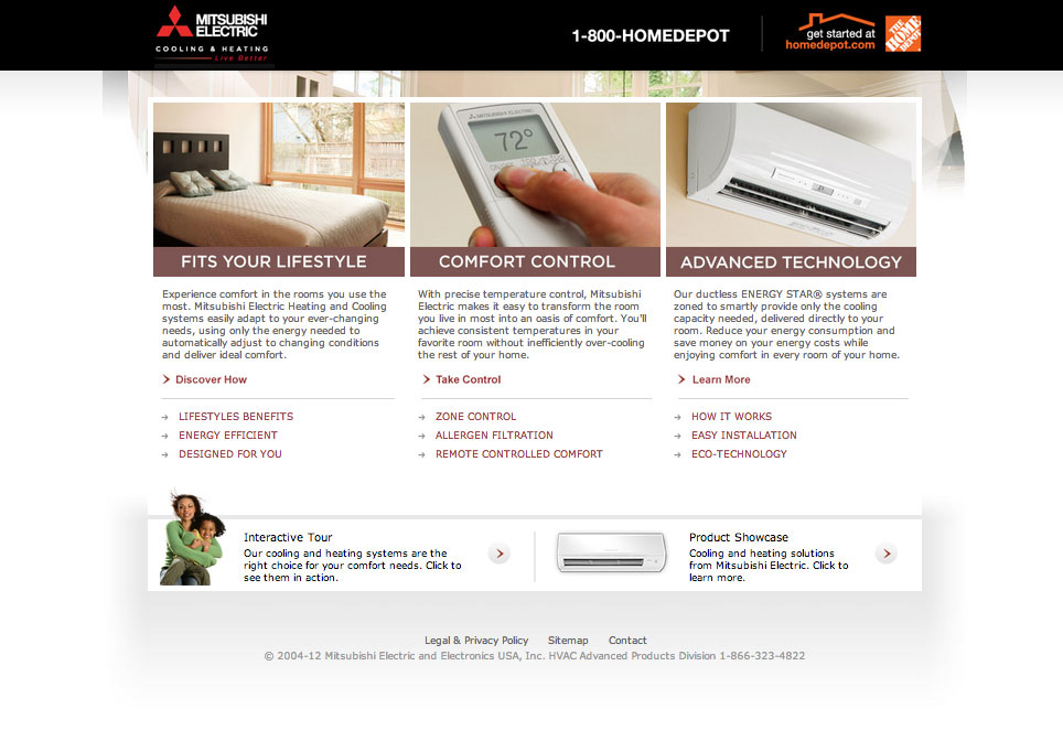 Home Depot/Mitsubishi Electric Website
